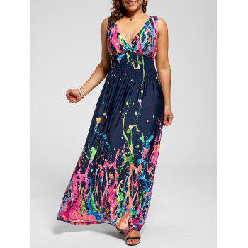 Sleeveless Empire Waist Plus Size Splatter Print Dress