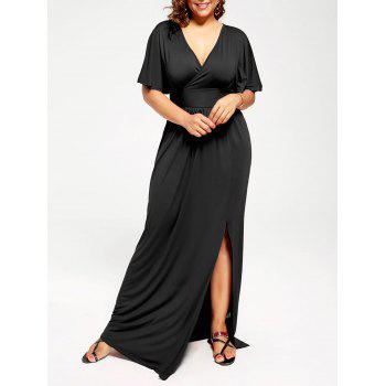 Plus Size Plunge Neck Maxi High Slit Formal Dress