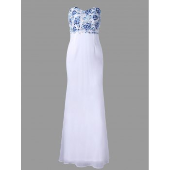 Flower Embroidery Strapless Maxi Dress