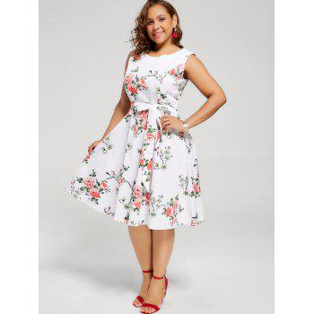 Floral Sleeveless Plus Size Tea Length Dress - WHITE 4XL