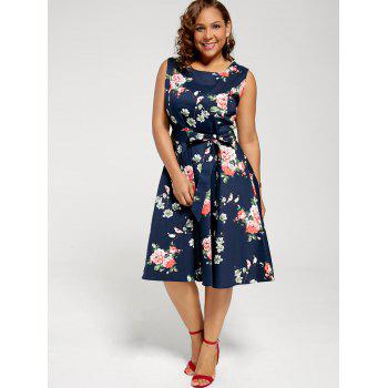 Floral Sleeveless Plus Size Tea Length Dress - PURPLISH BLUE 4XL