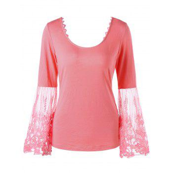 Lace Panel Bell Sleeve Bowknot Open Back Tee