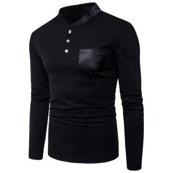 Long Sleeve Color Block Panel Stand Collar Pocket T-shirt