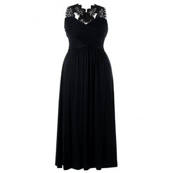 Plus Size Lace Insert Empire Waist Maxi Dress