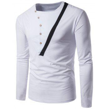 Oblique Buttons Long Sleeve Panel Design T-shirt