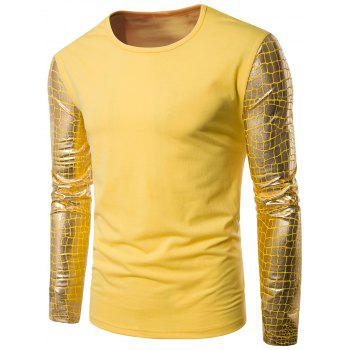 Crew Neck Long Sleeve Gilding Checked Panel T-shirt