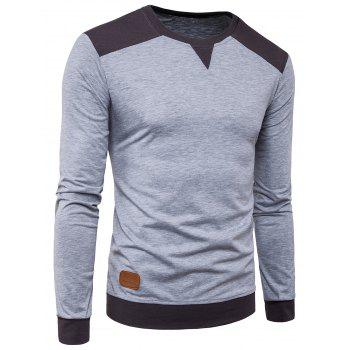 Color Block Panel PU Leather Applique Long Sleeve T-shirt