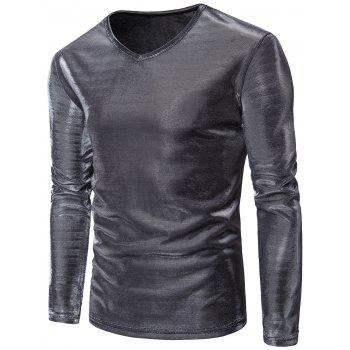 V Neck Gilding Long Sleeve T-Shirt