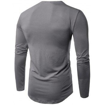 Cowl Neck Pleated Long Sleeve T-shirt - 2XL 2XL