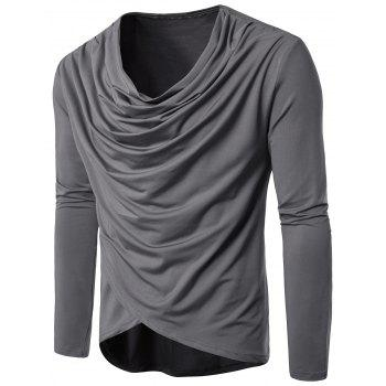 Cowl Neck Pleated Long Sleeve T-shirt - GRAY 2XL