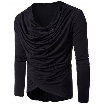 Cowl Neck Pleated Long Sleeve T-shirt - BLACK L