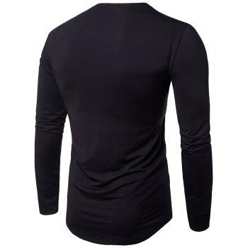 Cowl Neck Pleated Long Sleeve T-shirt - L L