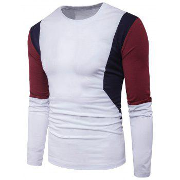 Color Block Panel Design Long Sleeve T-shirt - WHITE 2XL