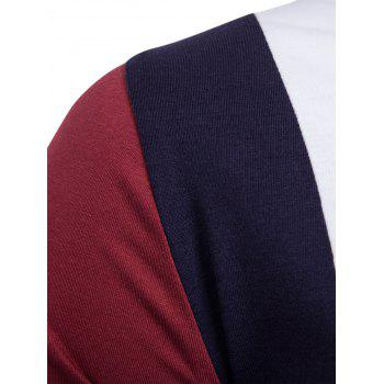 Color Block Panel Design Long Sleeve T-shirt - 2XL 2XL