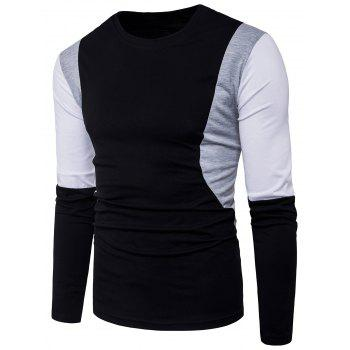 Color Block Panel Design Long Sleeve T-shirt - BLACK XL