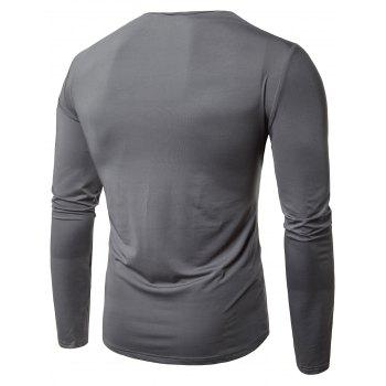 Hip Hop Pleated Cowl Neck Long Sleeve T-shirt - GRAY GRAY