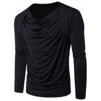Hip Hop Pleated Cowl Neck Long Sleeve T-shirt - BLACK BLACK
