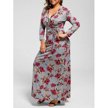 Leaf Print Floor Length Plus Size Dress