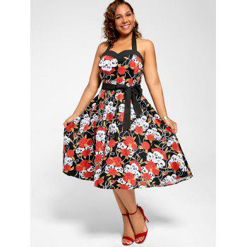 Floral Skull Print Halter Plus Size Vintage Dress - BLACK 4XL