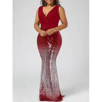 Plus Size Maxi Fishtail Dress - RED RED
