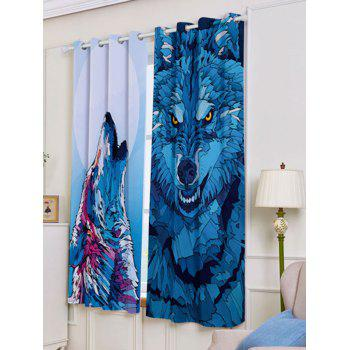 2 Panel Wolf Animal Blackout Curtain Window Screen - W53 INCH * L63 INCH W53 INCH * L63 INCH