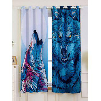 2 Panel Wolf Animal Blackout Curtain Window Screen - BLUE W53 INCH * L63 INCH
