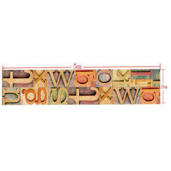 Wood Grain Letter Floor Sticker -  COLORFUL