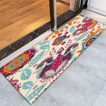 Bohemian Flower Antiskid Flannel Bath Rug - COLORFUL COLORFUL