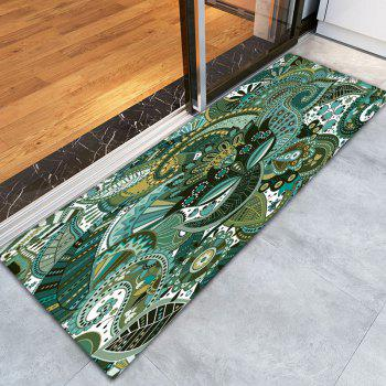 Bohemian Floral Pattern Antiskid Flannel Rug - TURQUOISE TURQUOISE