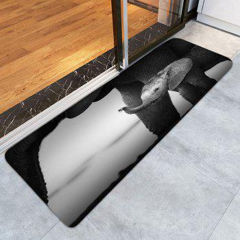 African Elephant Non Slip Bathroom Floor Door Mat - BLACK GREY BLACK GREY