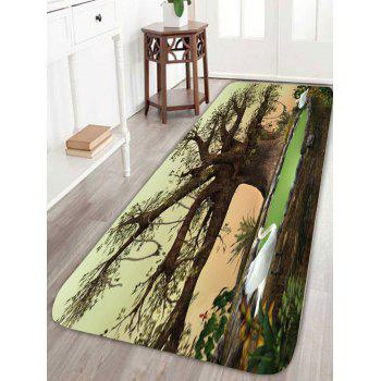 Larger Big Tree Soft Coral Velvet Area Rug - COLORMIX W16 INCH * L47 INCH