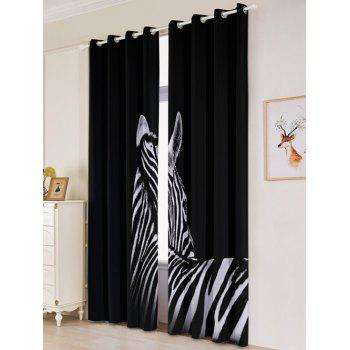 2 Panel Zebra Blackout Thermal Insulated Window Curtain - BLACK W53 INCH * L96.5 INCH