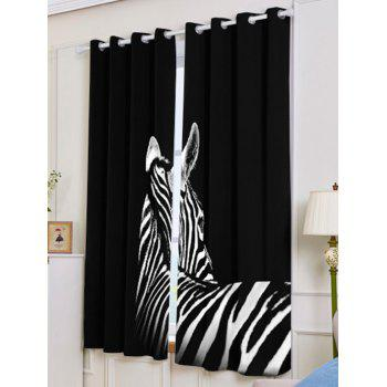 2 Panel Zebra Blackout Thermal Insulated Window Curtain - W53 INCH * L63 INCH W53 INCH * L63 INCH