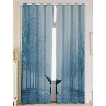 Mist Whale Blackout Screen 2 Pieces Window Curtain - LIGHT BLUE LIGHT BLUE