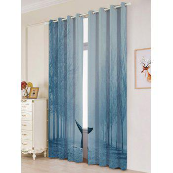 Mist Whale Blackout Screen 2 Pieces Window Curtain - W53 INCH * L84.5 INCH W53 INCH * L84.5 INCH