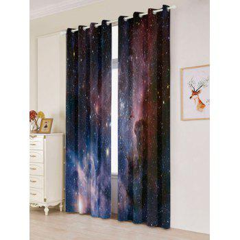 2 Pcs Blackout Universe Space Window Curtains - DEEP BLUE DEEP BLUE