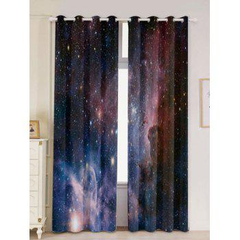 2 Pcs Blackout Universe Space Window Curtains