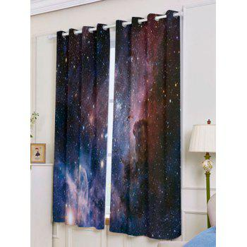 2 Pcs Blackout Universe Space Window Curtains - DEEP BLUE W53 INCH * L63 INCH