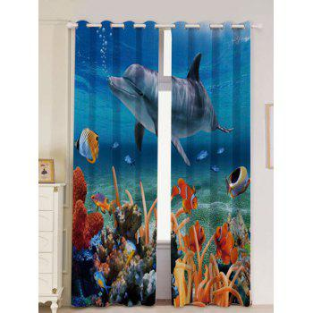2Pcs Blackout Dolphin Ocean Window Curtains - BLUE W53 INCH * L96.5 INCH