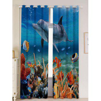 2Pcs Blackout Dolphin Ocean Window Curtains - BLUE BLUE