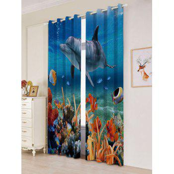 2Pcs Blackout Dolphin Ocean Window Curtains - W53 INCH * L84.5 INCH W53 INCH * L84.5 INCH
