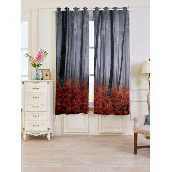 2 Pcs Forest Maple Leaf Blackout Window Curtains - RED RED