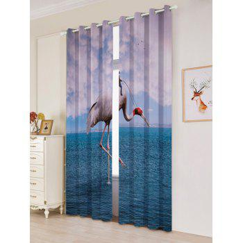 2 Panels Blackout Flamingo Sea Window Curtains - LAKE BLUE LAKE BLUE
