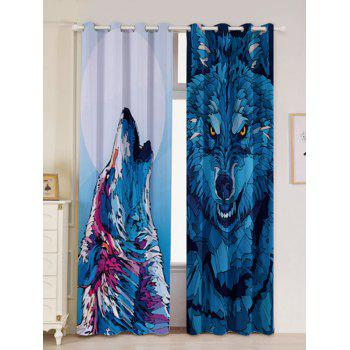 2 Panel Wolf Animal Blackout Curtain Window Screen - BLUE BLUE