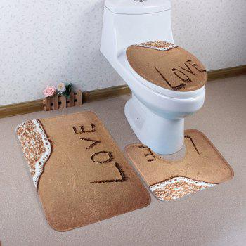 Coral Fleece 3Pcs Beach Love Bathroom Mat Set