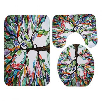 3Pcs Coral Fleece Tree of Life Ensemble de tapis de salle de bain - Coloré