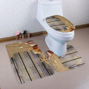 3PCS Beach Style Toilet Lid Cover and Floor Mat Set