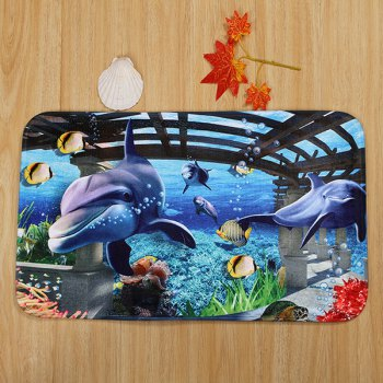 3Pcs Ocean World Coral Fleece Bathroom Mat Set - BLUE