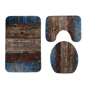 3PCS Vintage Plank Non Slip Mat Set For Bathroom - COLORMIX