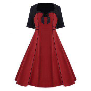 Bowknot Plus Size Midi Pin Up Dress